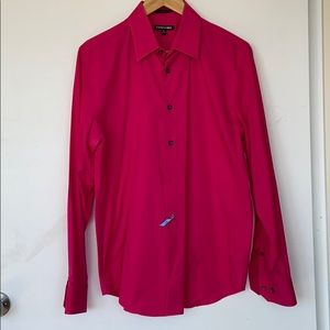 Express fitted mens dress shirt prink